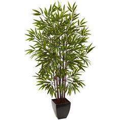 Artificial Tree 5 Foot Bamboo Tree With Planter Metal Planter Boxes, Plastic Planter, Steel Planter, Faux Succulents, Faux Plants, Bamboo Plants, Silk Tree, Floor Plants, Bamboo Garden