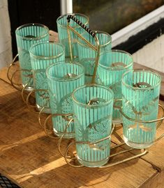 turquoise drinking glass image | Vintage Aqua, Turquoise, Sky Blue Drinking Glasses with Gold Tone ...