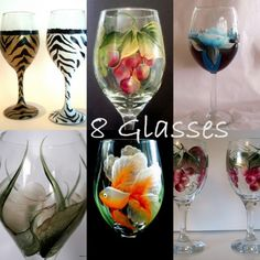 Hand Painted Glasses 8 of any Design. LOVE upper right