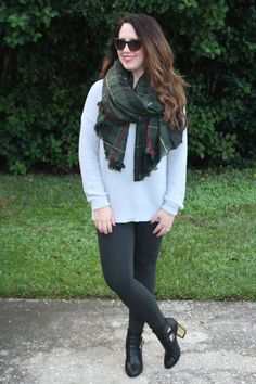 Cozy fall fashions from J. Jill - Oversized scarf for fall - BonBon Rose Girls AD