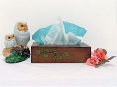 Tissue Box Cover ~ Wooden Hand-Crafted Hand-Painted Decorative Vine Accent ~ Full-Size Tissue Box Cover ~ Home Office Bathroom Decor Vintage