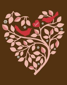 Love Branch - http://www.etsy.com/listing/36226360/love-branch-on-chocolate-art-print £9.74