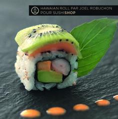 HAWAIAN ROLL (crevette basilic, avocat, saumon, kiwi, et sauce yuzu mangue), par Joël Robuchon !