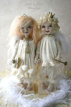 Коллекционные куклы ручной работы. Куклы ангелы.Текстильные куклы Мари и Мигель.. ALBINAToys.. Интернет-магазин Ярмарка Мастеров. Кружево