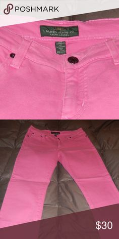 NWOT Ralph Lauren Pink Skinny Jeans, Size 4 LRL Ralph Lauren Brand Skinny Jeans, size 4.  Pants are new without tags and made from a stretch denim fabric; the color is slightly brighter pink than the photos show, kind of a bubblegum pink.  Very cute pants! Lauren Ralph Lauren Jeans Skinny