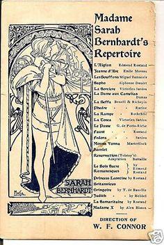 Sarah Bernhardt's Repertoire, a rare postcard by Alphonse Mucha, 1911