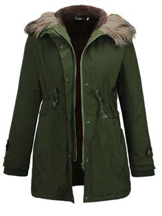 Macondoo Womens Fleece Lined Double Breasted Faux Suede Overcoat Parka Coat