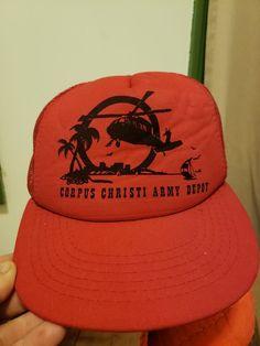 7e284313df2 Vintage  80s SnapBack Trucker Hat Corpus Christi Army Depot  fashion   clothing  shoes