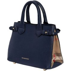 BURBERRY Small Banner Grained Leather & Check Bag (28,720 HNL) ❤ liked on Polyvore featuring bags, handbags, shoulder bags, borse, bolsas, blue, full grain leather handbags, burberry, burberry purses and blue shoulder bag