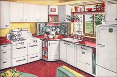 1947 kitchen-American vintage home. Except for the cool retro appliances, this is what the kitchen we gutted looked like except in yellow. 1940s Kitchen, Old Kitchen, Vintage Kitchen, Kitchen Decor, Retro Kitchens, Kitchen Modern, Vintage Stove, Retro Appliances, Kitchen Corner