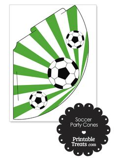 Green Sunburst Soccer Party Cones from PrintableTreats.com