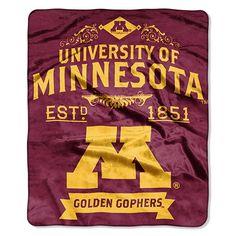 Minnesota Golden Gophers Established Label Raschel Throw