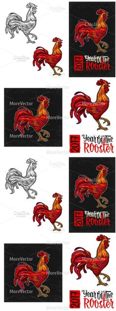 Red fiery rooster. 2017 new year. Vintage Design. $6.00