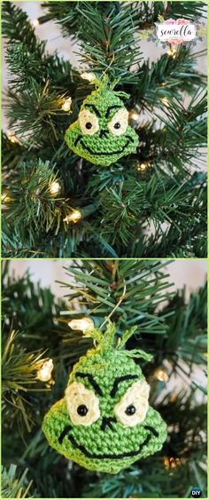 Crochet Grinch Inspired Ornament Free Pattern - Crochet Christmas Ornament Free Patterns
