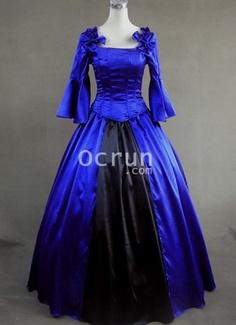 Blau und Schwarz mit langen Ärmeln viktorianische Korsett-Kleid