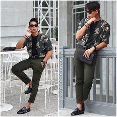 CARLZENO - Luxemono Sonder Clutch, Versace Medusa Belt, Zara Green Floral Shirt, Uniqlo Ankle Pants, Zara Leather Sandal, Ray Ban Folding Wayfarers - Wear your Greens   LOOKBOOK