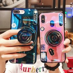 Luxury Blu ray retro camera Phone Cases For iPhone X 6 7 8 Plus Case Vintage Camera Soft Back Cover With air bag stand Holder 3d Camera, Cute Camera, Camera Case, Retro Camera, Camera Phone, Dslr Cameras, Diy Phone Case, Cute Phone Cases, Iphone Phone Cases
