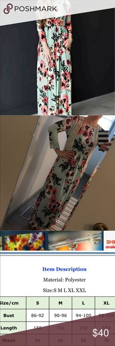"""COMING SOON NEW Modest Floral """"Avery"""" Maxi Dress NEW modest Floral """"Avery"""" Maxi dress. This listing is for mint green. Various sizes available. Super cute and comfy dress! Super versatile as it can be dressed up or down! Wear it on its own or pair it with a cute lace vest! Smoke free and pet free home. Dresses Maxi"""