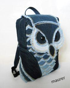 d7f85a5cf3 Children s owl backpack Denim packsack Recycled jeans haversack Upcycled  schoolbag Knapsack for kid
