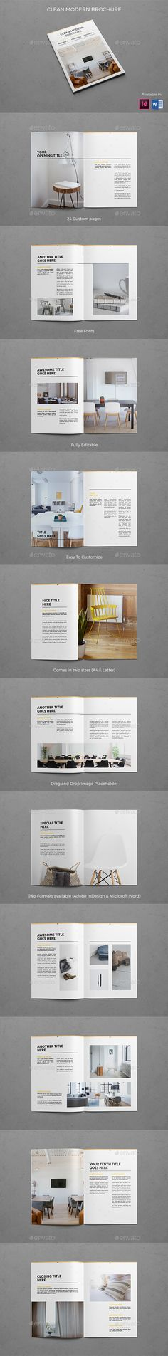 Clean Modern Brochure Template InDesign INDD