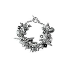 NOVICA Artisan Crafted Silver Charm Bracelet (13,970 PHP) ❤ liked on Polyvore featuring jewelry, bracelets, charm, fine silver, tribal jewelry, leaf charms, charm jewelry, silver jewelry and silver bracelet charms