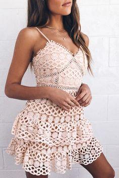 93de5430ab Beauty and Lace Pale Blush Crochet Lace Mini Dress Crochet Top, Tops,  Fashion,