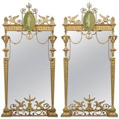 Pair of 19th Century, George III Style, Neoclassical Pier Mirrors