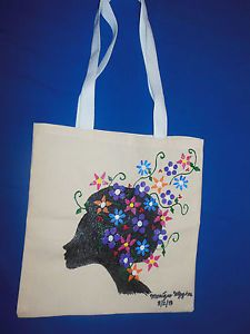 """Hand-painted Tote Bag """"Flower Fro, Black'"""