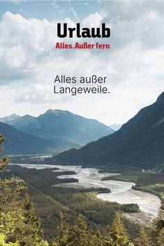 """🌊Wild & frei🌊 Im Naturpark Tiroler Lech darf der """"letze Wilde"""" sein, wie ein natürlicher Fluss sein sollte - sich auf einer Gesamtfläche von rund 40 Quadratkilometer ausbreiten und aus eigener Kraft seinen Lauf gestalten. In seinem breiten Flussbett inszeniert sich der Lech immer wieder neu und schlängelt sich durch die Landschaft.🏞 Im Lechtal bieten sich erholungs- und abenteuersuchenden Urlaubern Erlebnisse jeder Art - aktiv, entspannenden, nass, naturnah! Le Ch, Wilde, Aktiv, Mountains, Nature, Travel, Europe, Salzburg, Day Trips"""