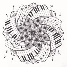 Adult Music Coloring Pages New Studio Ml Zendala Dare 66 Zentangle Doodles Zentangle Drawings, Doodles Zentangles, Zentangle Patterns, Doodle Drawings, Doodle Art, Tangle Doodle, Music Doodle, Zen Doodle, Colouring Pages