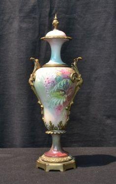 Nouveau Ceramic Art Glass Vase With Flowers &