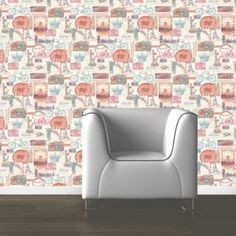 Muriva paste the paper postcards red wallpaper