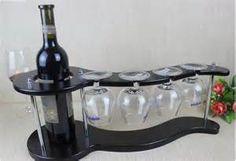Handmade Wooden Wine Glass & Bottle Holder - Modern Rack Display ...