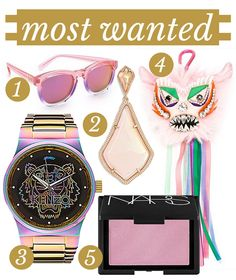 1. Wildfox Classic Fox Deluxe Sunglasses.2. Kendra Scott 'Mystic Bazaar – Alexis' Drop Earrings. 3.Kenzo Rainbow Tiger Watch. 4. NARS New Order Blush. 5. Shourouk Embellished Monster Keyring. Feeling the pink this month for September's Most Wanted… but with a little bite! Maybe because I'm burnt out on all the baby blue currently happening at …