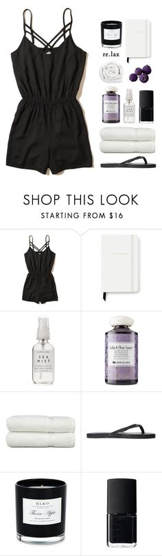 """""""Rest Up: Staycation"""" by catchsomeraes ❤ liked on Polyvore featuring Hollister Co., Kate Spade, Herbivore, Origins, Linum Home Textiles, Yosi Samra, D.L. & Co., NARS Cosmetics, Brinkhaus and black"""