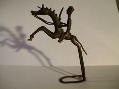 Bronze Messing Metall? Reiter mit Pferd Afrikanische Kunst Ashanti höhe 18cm