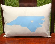 custom state pillow. shown north carolina. comes in any color or design.
