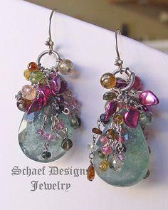 Schaef Designs Pearl & Gemstone Jewelry   Large Moss Aquamarine Keishi Pearl and Tourmaline Dangle Earrings
