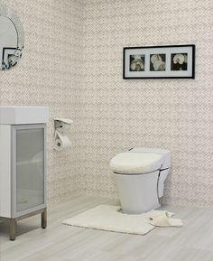ナチュラルなトイレ 当店取り扱い商品を使ったトイレコーディネートです。  http://www.rakuten.ne.jp/gold/diaadia/TOILET/ #トイレ #壁紙 #ホワイト #幾何学 #アートフレーム