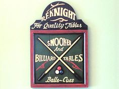 """Knight Pool Table Plaque Hand Painted Decor 1/"""" L x 16/"""" W x 24/"""" H Close Out R.F"""