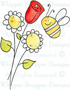 Bee Bouquet - Whimsical - Floral/Garden - Rubber Stamps