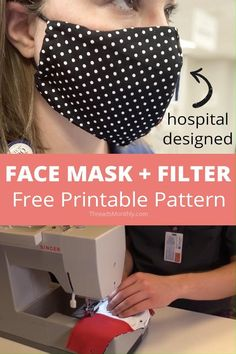 This is a free printable face mask pattern. It's an fitted olson style with a filter pocket and hair ties. It was designed by healthcare provider Unity Point Health. Easy Face Masks, Homemade Face Masks, Diy Face Mask, Sewing Patterns Free, Sewing Tutorials, Sewing Projects, Free Pattern, Pattern Sewing, Video Tutorials