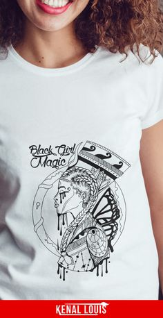 The Most Powerful Black Girl Magic Shirt Design You'll Love Beautiful Black Girl, Black Girl Art, Black Women Art, Black Girl Magic, Unique T Shirt Design, Tee Design, Afrocentric Clothing, Culture T Shirt, Black Goddess