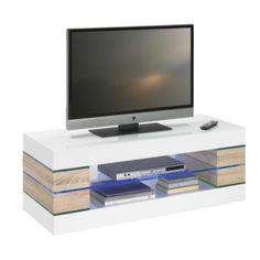 """""""Dieses Lowboard von XORA überzeugt durch das moderne Design in Weiß und Buchefarben. Setzen Sie Ihren Fernseher auf diesem Wohnzimmermöbel gekonnt in Szene und bewahren Sie Spielkonsolen, DVD-Player und mehr bequem auf dem Einlegeboden aus Glas auf. Das Highlight: Die integrierte LED-Beleuchtung verleiht Ihrem Wohnzimmer eine ganz besondere Atmosphäre. Legen Sie die Beine hoch und genießen Sie Ihren Fernsehabend mit dem Lowboard von XORA!"""""""