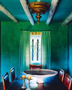Color!! Another view of the dining room designed by Spanish interior designer Ramón de Abadal. via Lush & Luxe