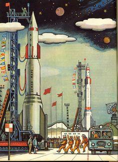 Earth-Mars Rocket – Illustration from a Soviet children's book, retrofuturism Space Illustration, Soviet Art, Classic Sci Fi, Space Race, Vintage Space, Science Fiction Art, Science Art, Art Graphique, Sci Fi Fantasy