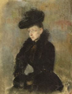 "Olga Boznanska ""Portrait of a Woman"", 1892, pastel on paper, 44 x 33.8 cm, National Museum, Warsaw"