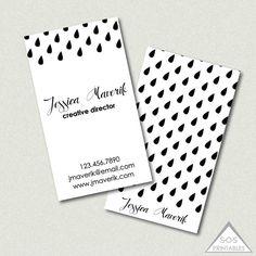 Printable business card neutral gray stripe business cards simple raindrops business card printable business cards modern black and white rain drops colourmoves