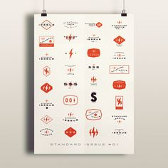 """A series of logos I did for ISSSUE Clothing Company compiled into a single poster. I plan on extending the """"Standard Isssue"""" series past No. 1."""