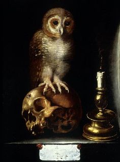 Attributed to Juan de Valdés Leal, Vanitas with Owl, century. Memento Mori, Vanitas Paintings, Vanitas Vanitatum, Dance Of Death, Japanese Folklore, Occult Art, Danse Macabre, Arte Horror, Gothic Art